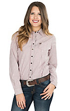 Cinch Women's Pink, Brown, and Cream Striped Long Sleeve Western Shirt