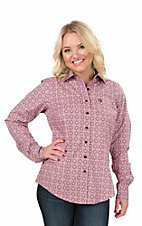 Cinch Women's Pink, Brown, and Cream Print Long Sleeve Western Shirt
