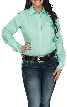 Cinch Women's Solid Mint Green Long Sleeve Western Shirt