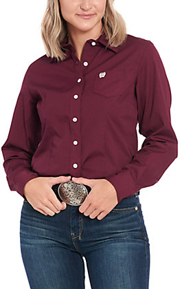 Cinch Women's Burgundy Long Sleeve Western Shirt