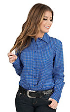 Cinch Women's Blue Diamond Print Long Sleeve Western Shirt