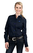 Cinch Women's Black with Blue Polka Dots Long Sleeve Western Shirt