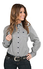 Cinch Women's Navy and White Print Long Sleeve Western Shirt