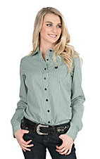 Cinch Women's Mint Striped Long Sleeve Western Shirt
