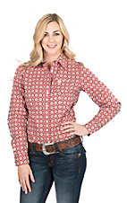 Cinch Women's Red Medallion Print Long Sleeve Western Shirt