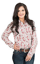 Cinch Women's Red Paisley Print Long Sleeve Western Shirt