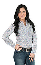 Cinch Ladies Purple Paisley Print Long Sleeve Western Shirt