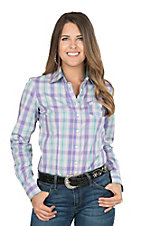 Cinch Ladies Purple Plaid Long Sleeve Western Shirt