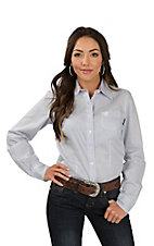 Cinch Women's White with Blue and Red Polka Dots Long Sleeve Western Shirt