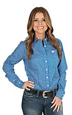 Cinch Women's Blue Geometric Print Long Sleeve Western Shirt
