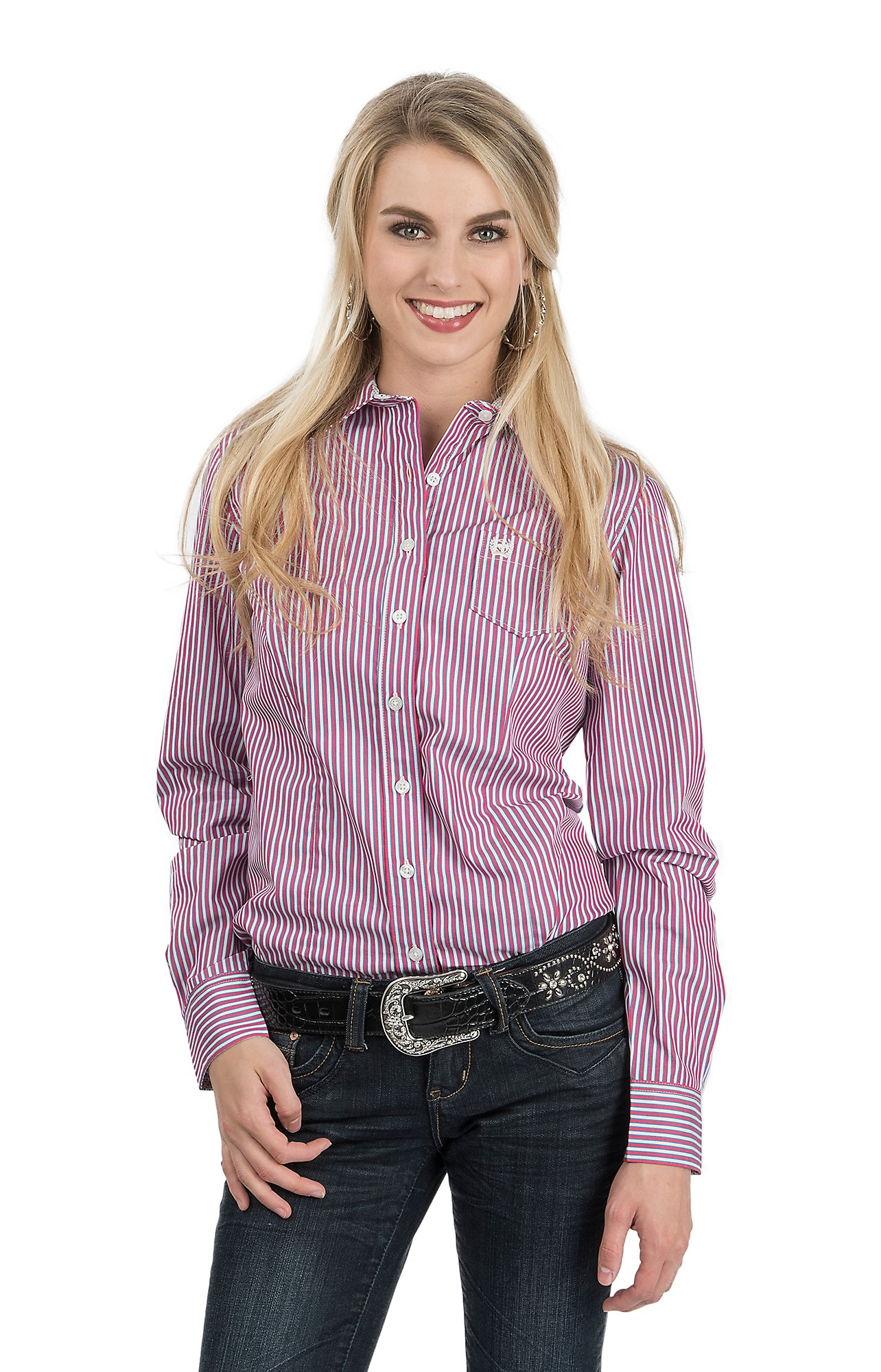 Cinch Women's Pink, White and Blue Stripe Long Sleeve Western ...