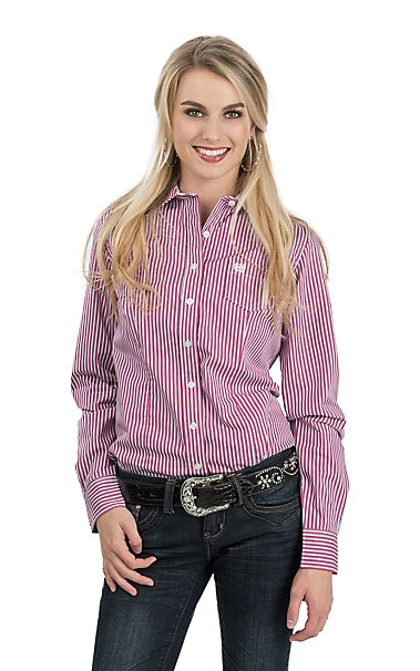 Cinch Women's Pink, White and Blue Stripe Long Sleeve Western ...