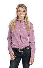 Cinch Women's Pink, White and Blue Stripe Long Sleeve Western Shirt