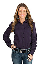 Cinch Women's Purple and Black Striped Long Sleeve Western Shirt