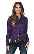 Cinch Women's Purple and White Polka Dot Long Sleeve Western Shirt
