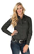 Cinch Women's Black and Grey Geo Print Long Sleeve Western Shirt