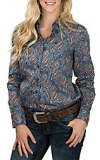 Cinch Women's Teal Paisley Long Sleeve Western Shirt