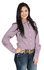 Cinch Women's Purple and White Stripe Long Sleeve Western Shirt