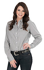 Cinch Women's Charcoal and White Stripe Long Sleeve Western Shirt