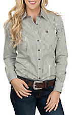 Cinch Women's Olive Striped L/S Western Shirt