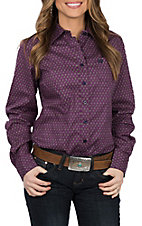 Cinch Women's Purple Diamond Print L/S Western Shirt