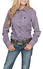 Cinch Women's Navy and Pink Stripe L/S Western Shirt