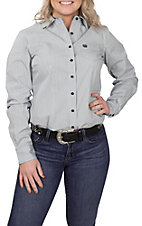 Cinch Women's Light Blue Stripe L/S Western Snap Shirt