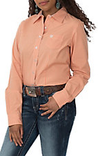 Cinch Women's Orange Checker Print L/S Western Snap Shirt