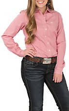 Cinch Women's Pink and White Striped Long Sleeve Western Button Up Shirt
