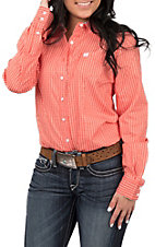 Cinch Women's Fiesta Red and White Stripe Print Button Up Western Shirt