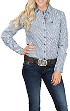 Cinch Women's Long Sleeve Blue Print Western Shirt