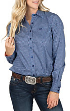 Cinch Women's Long Sleeve Blue Print Western Button Down Shirt
