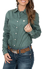 Cinch Women's Long Sleeve Green Circle Print Western Shirt