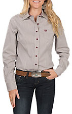 Cinch Women's Long Sleeve White and Magenta Striped Print Western Shirt