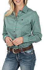 Cinch Women's Turquoise Printed Plain Weave Western Shirt