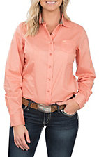 Cinch Women's Orange Pea Printed Long Sleeve Button Up Western Shirt