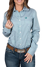 Cinch Women's Long Sleeve White and Teal Striped Print Western Shirt