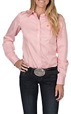 Cinch Women's Long Sleeve White and Orange Striped Print Western Shirt