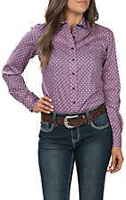 Cinch Women's Long Sleeve Purple Print Western Shirt