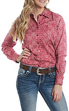 Cinch Women's Red Paisley Print L/S Western Snap Shirt