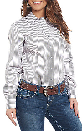 Cinch Women's Long Sleeve Green and Pink Striped Print Western Shirt