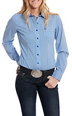 Cinch Women's Long Sleeve Blue and White Plaid Western Shirt