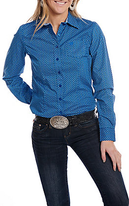 Cinch Women's Long Sleeve Navy with Turquoiuse Print Western Shirt