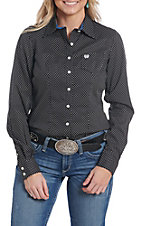 Cinch Women's Black with White Dots Long Sleeve Western Shirt