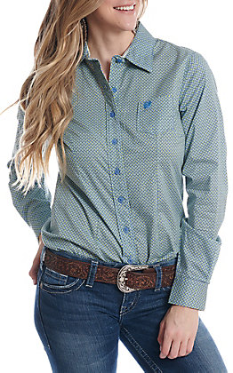 Cinch Women's Blue And Lime Geo Print Button Down Western Shirt