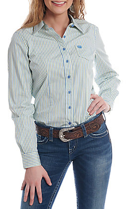 Cinch Women's Blue, Green And White Striped Button Down Long Sleeve Western Shirt