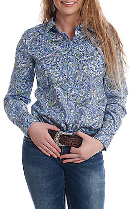 Cinch Women's Blue And Lime Green Paisley Print Long Sleeve Button Down Western Shirt