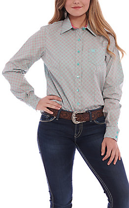 83b0921315169e Cinch Women's Blue & Coral Print Long Sleeve Western Shirt