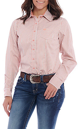 45b1efe3ce64ca Cinch Women's Coral Striped Long Sleeve Western Shirt