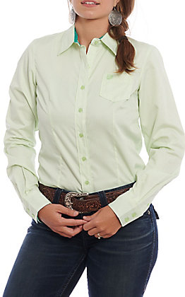 Cinch Women's Tencel Lime & White Striped Long Sleeve Western Shirt